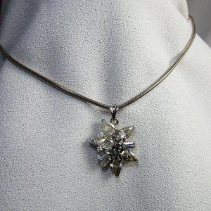 Vintage CZ Silver Pendant Necklace